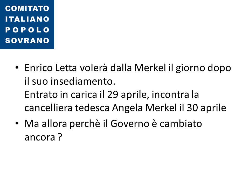 Enrico Letta volerà dalla Merkel il giorno dopo il suo insediamento. Entrato in carica il 29 aprile, incontra la cancelliera tedesca Angela Merkel il