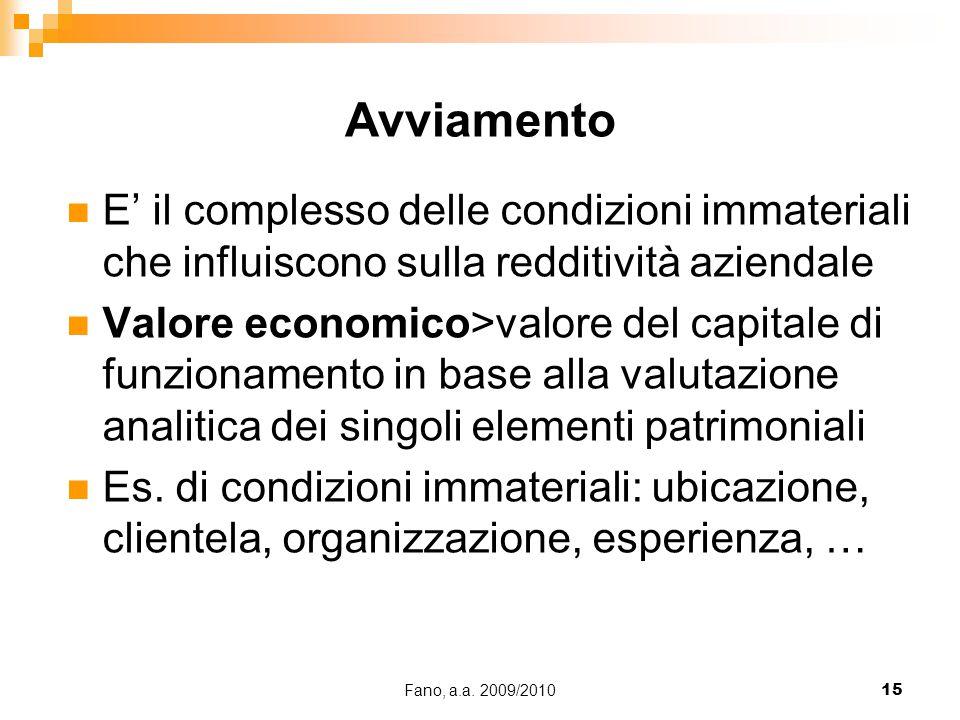 Fano, a.a. 2009/201015 E' il complesso delle condizioni immateriali che influiscono sulla redditività aziendale Valore economico>valore del capitale d