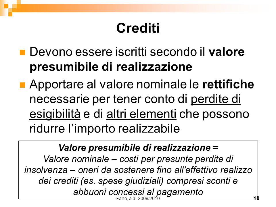 Fano, a.a. 2009/201018 Devono essere iscritti secondo il valore presumibile di realizzazione Apportare al valore nominale le rettifiche necessarie per
