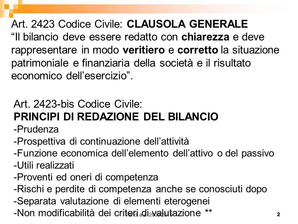 """Fano, a.a. 2009/20102 Art. 2423 Codice Civile: CLAUSOLA GENERALE """"Il bilancio deve essere redatto con chiarezza e deve rappresentare in modo veritiero"""