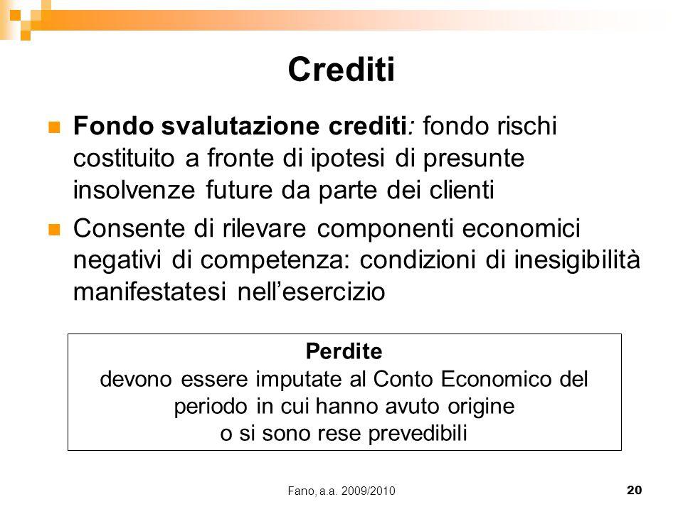 Fano, a.a. 2009/201020 Fondo svalutazione crediti: fondo rischi costituito a fronte di ipotesi di presunte insolvenze future da parte dei clienti Cons