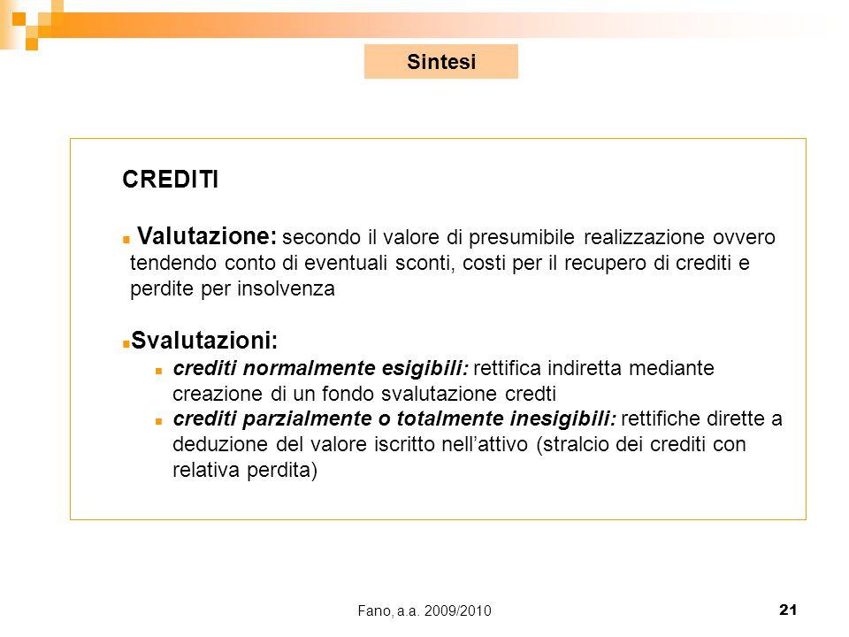 Fano, a.a. 2009/201021 CREDITI n Valutazione: secondo il valore di presumibile realizzazione ovvero tendendo conto di eventuali sconti, costi per il r