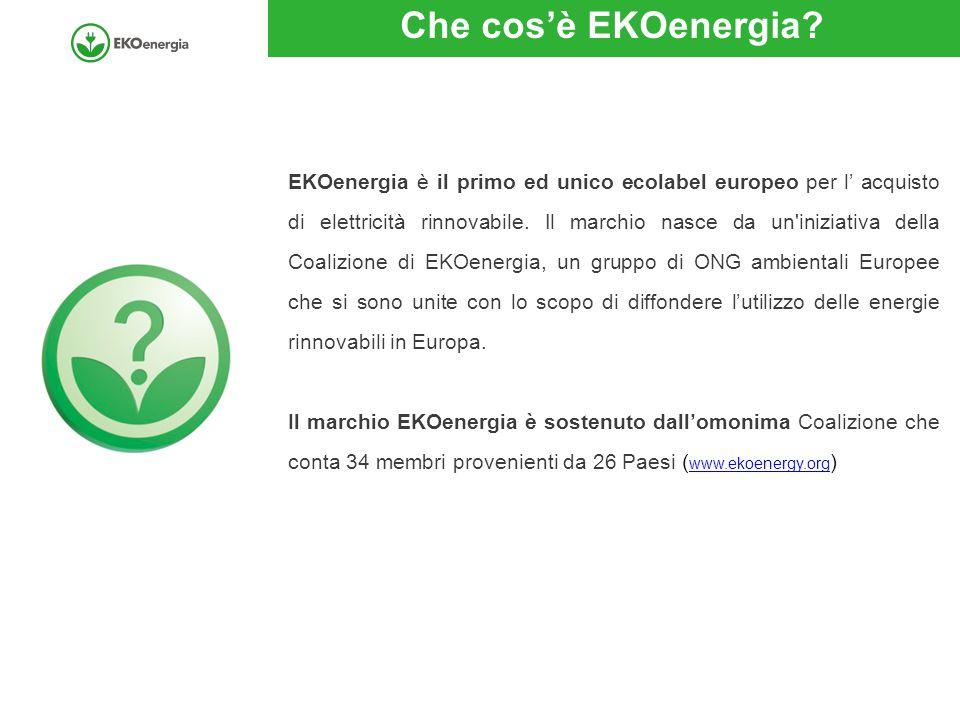 Che cos'è EKOenergia? EKOenergia è il primo ed unico ecolabel europeo per l' acquisto di elettricità rinnovabile. Il marchio nasce da un'iniziativa de