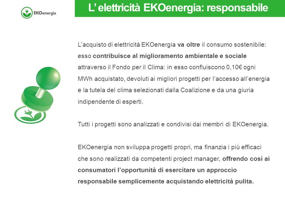 L' elettricità EKOenergia: responsabile L'acquisto di elettricità EKOenergia va oltre il consumo sostenibile: esso contribuisce al miglioramento ambie