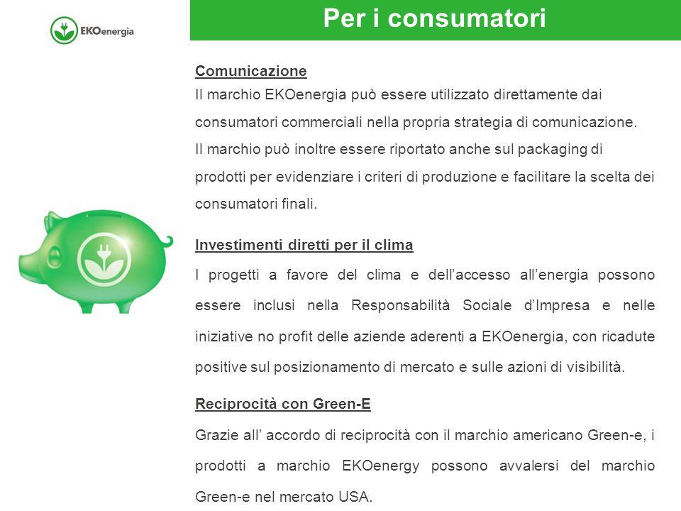 Per i consumatori Comunicazione Il marchio EKOenergia può essere utilizzato direttamente dai consumatori commerciali nella propria strategia di comuni