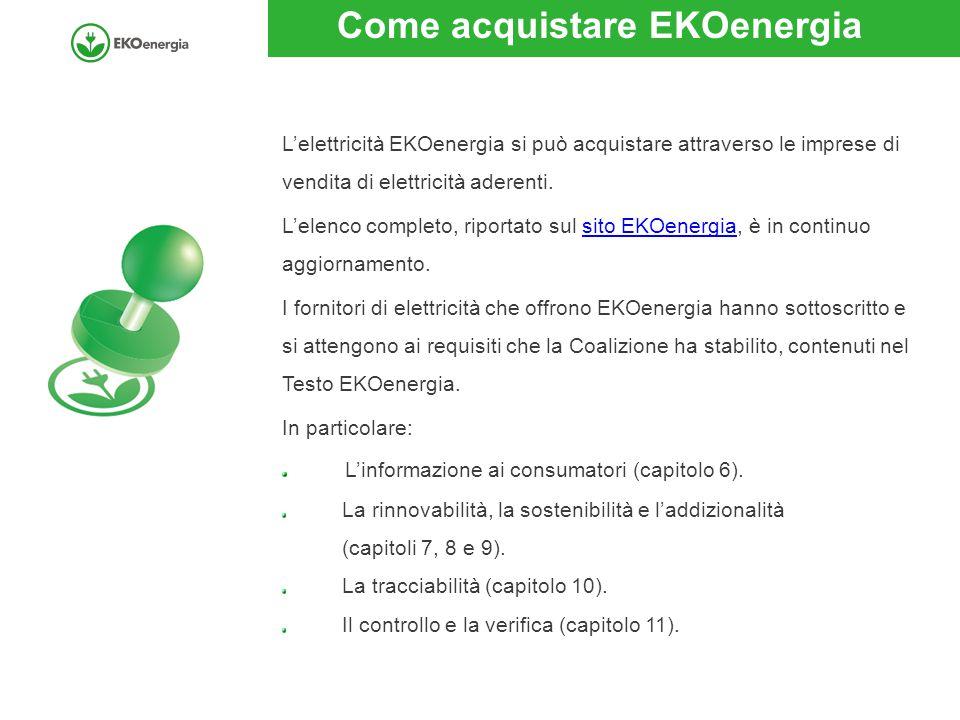 Come acquistare EKOenergia L'elettricità EKOenergia si può acquistare attraverso le imprese di vendita di elettricità aderenti.