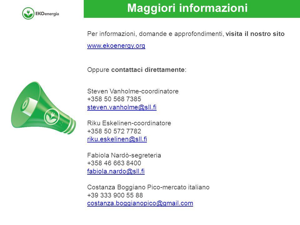 Maggiori informazioni Per informazioni, domande e approfondimenti, visita il nostro sito www.ekoenergy.org Oppure contattaci direttamente: Steven Vanholme-coordinatore +358 50 568 7385 steven.vanholme@sll.fi Riku Eskelinen-coordinatore +358 50 572 7782 riku.eskelinen@sll.fi Fabiola Nardò-segreteria +358 46 663 8400 fabiola.nardo@sll.fi Costanza Boggiano Pico-mercato italiano +39 333 900 55 88 costanza.boggianopico@gmail.com