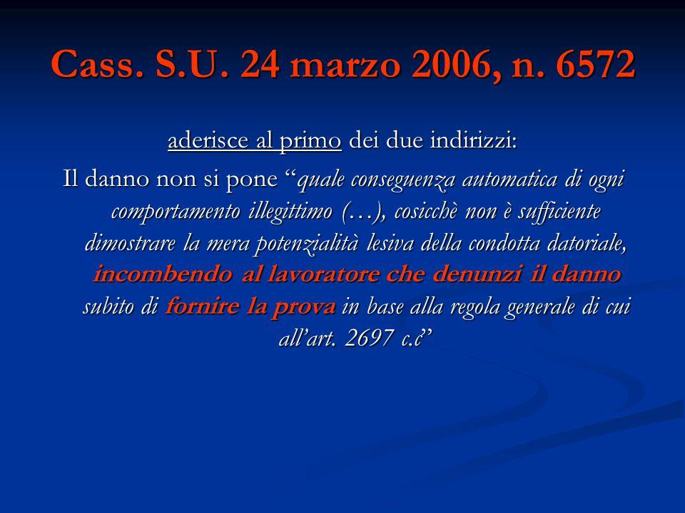"""Cass. S.U. 24 marzo 2006, n. 6572 aderisce al primo dei due indirizzi: Il danno non si pone """"quale conseguenza automatica di ogni comportamento illegi"""