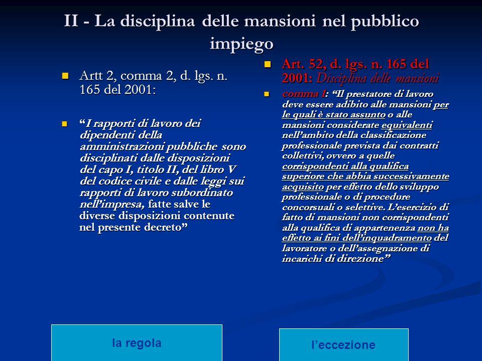 """II - La disciplina delle mansioni nel pubblico impiego Artt 2, comma 2, d. lgs. n. 165 del 2001: Artt 2, comma 2, d. lgs. n. 165 del 2001: """"I rapporti"""