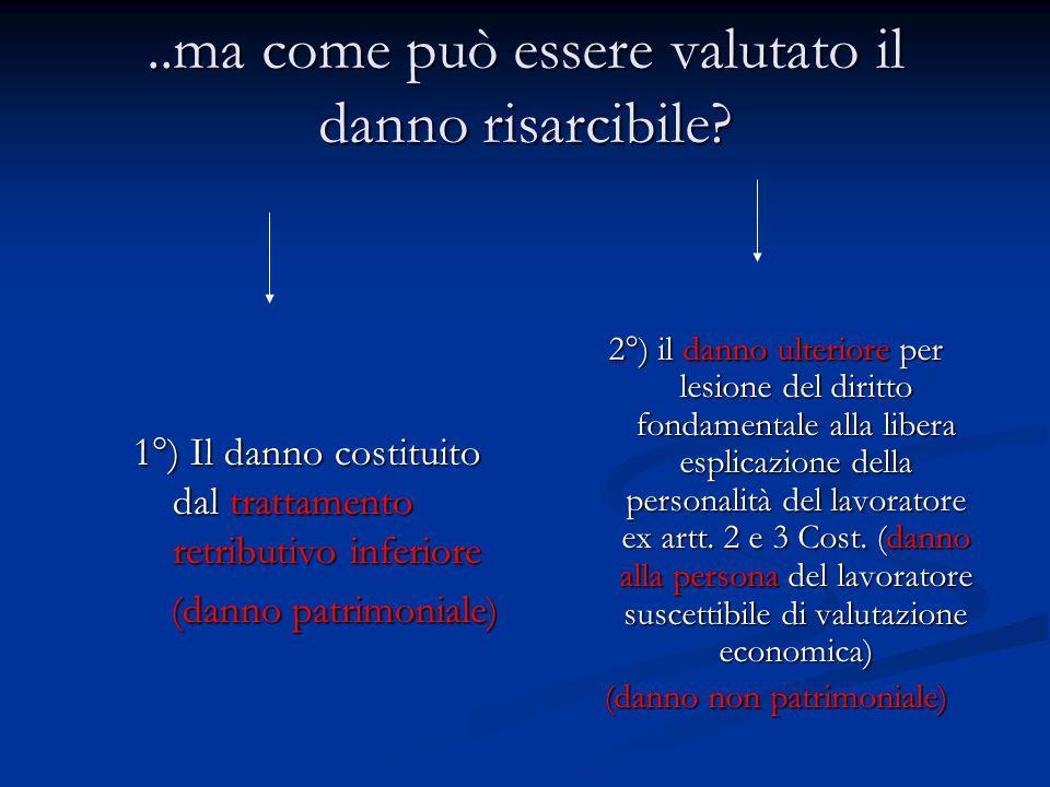 ..ma come può essere valutato il danno risarcibile? 1°) Il danno costituito dal trattamento retributivo inferiore (danno patrimoniale) 2°) il danno ul