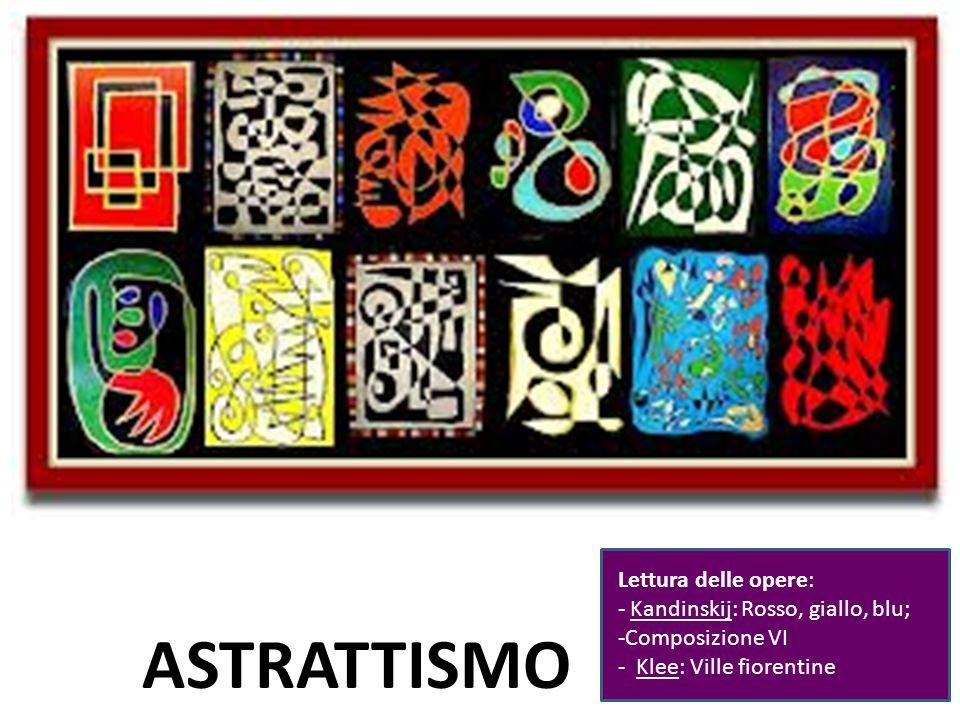 Prof.ssa Zaira CHIAESE ASTRATTISMO Lettura delle opere: - Kandinskij: Rosso, giallo, blu; -Composizione VI - Klee: Ville fiorentine
