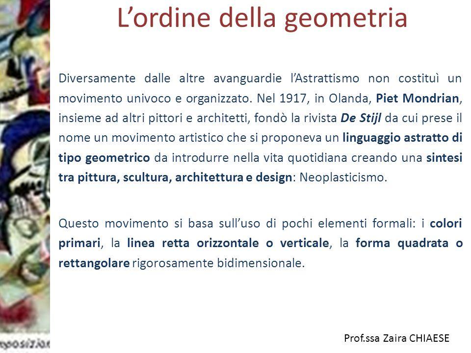 Prof.ssa Zaira CHIAESE L'ordine della geometria Diversamente dalle altre avanguardie l'Astrattismo non costituì un movimento univoco e organizzato. Ne