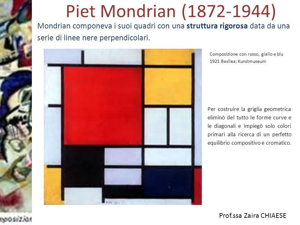 Prof.ssa Zaira CHIAESE Piet Mondrian (1872-1944) Composizione con rosso, giallo e blu 1921 Basilea; Kunstmuseum Per costruire la griglia geometrica el