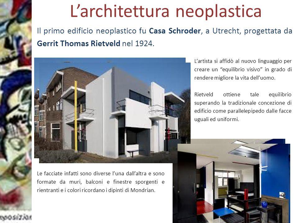 Prof.ssa Zaira CHIAESE L'architettura neoplastica Il primo edificio neoplastico fu Casa Schroder, a Utrecht, progettata da Gerrit Thomas Rietveld nel
