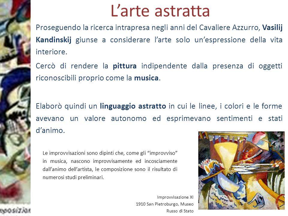Prof.ssa Zaira CHIAESE L'arte astratta Proseguendo la ricerca intrapresa negli anni del Cavaliere Azzurro, Vasilij Kandinskij giunse a considerare l'a