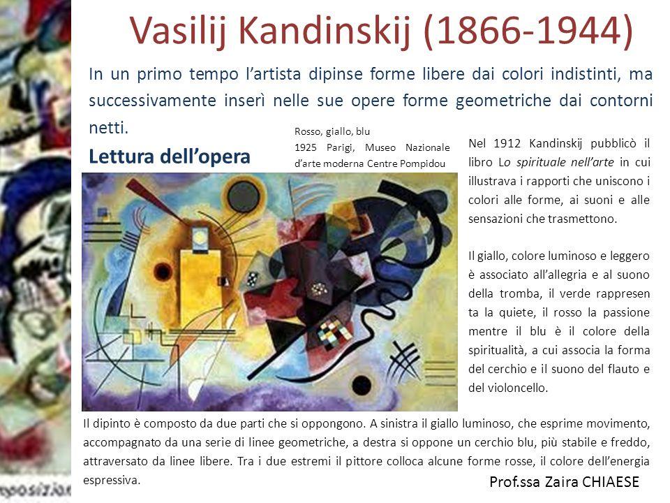 Prof.ssa Zaira CHIAESE Vasilij Kandinskij (1866-1944) Lettura dell'opera Rosso, giallo, blu 1925 Parigi, Museo Nazionale d'arte moderna Centre Pompido