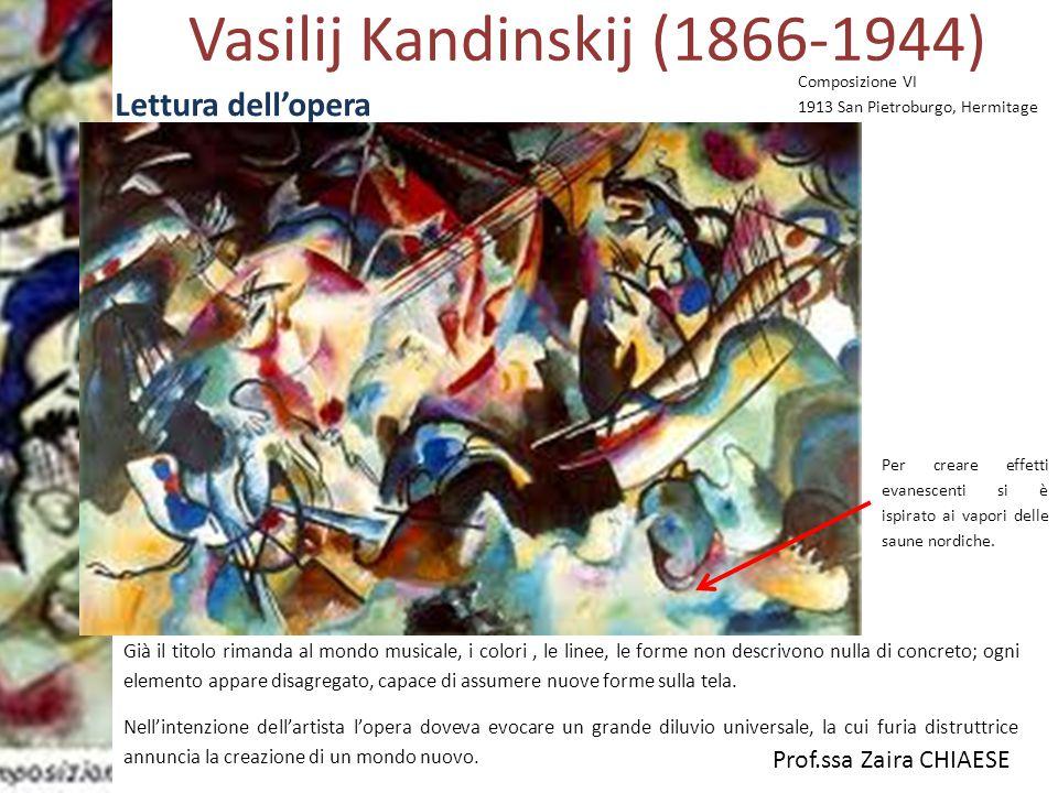 Prof.ssa Zaira CHIAESE Vasilij Kandinskij (1866-1944) Lettura dell'opera Composizione VI 1913 San Pietroburgo, Hermitage Già il titolo rimanda al mond
