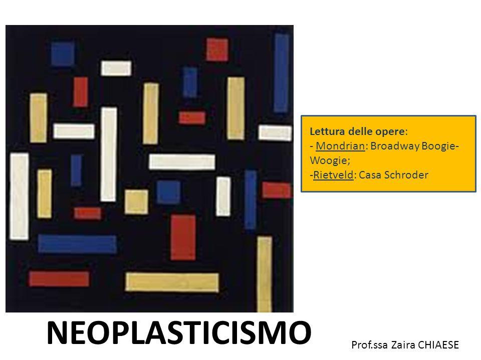 NEOPLASTICISMO Lettura delle opere: - Mondrian: Broadway Boogie- Woogie; -Rietveld: Casa Schroder