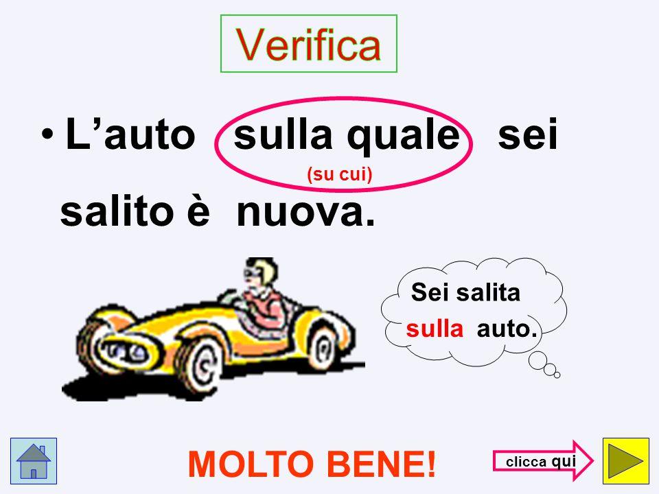 L'auto di cui sei salita è nuova. S B A G L I A T O ! ! ! con- trol- la