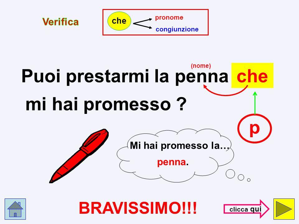 pronome congiunzione che Puoi prestarmi la penna che c mi hai promesso ? (nome) S B A G L I A T O ! ! ! con- trol- la