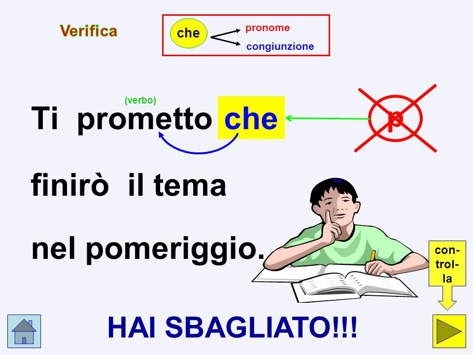 p c Ti prometto che finirò il tema nel pomeriggio. pronome p congiunzione c che Clicca nel cerchio che indica la risposta esatta.