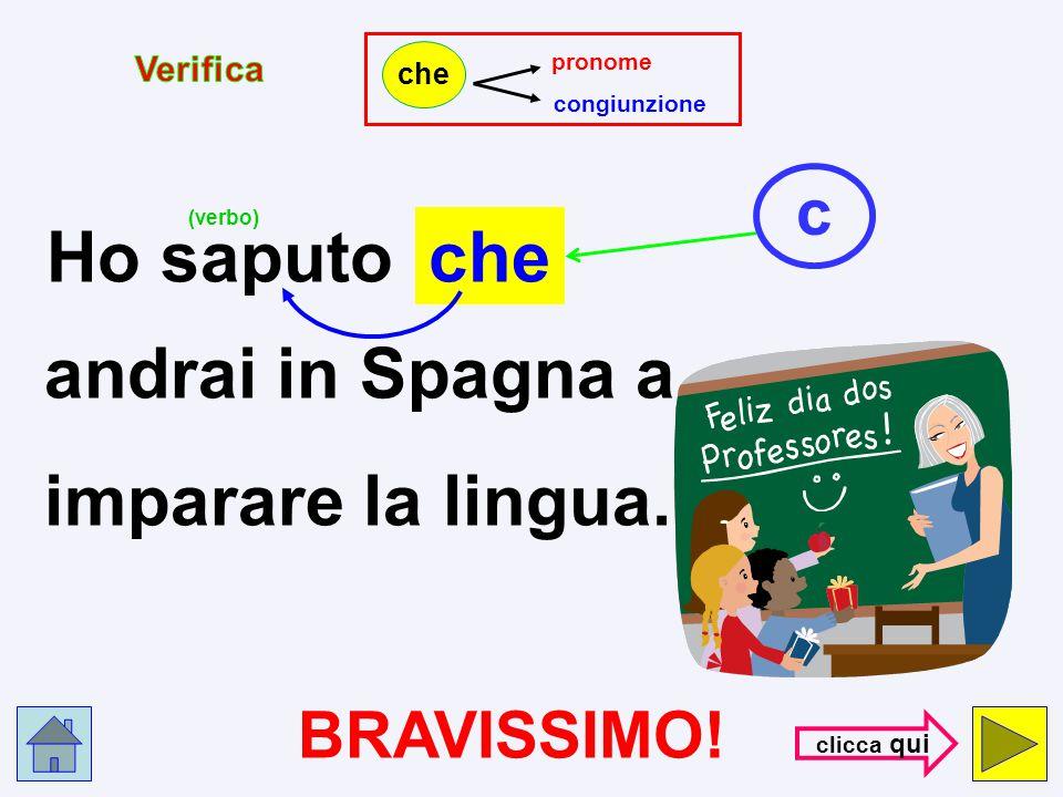 pronome congiunzione che Ho saputo che p andrai in Spagna a imparare la lingua. (verbo) HAI SBAGLIATO !!! con- trol- la