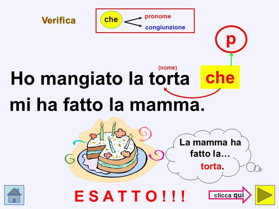 pronome congiunzione che Ho mangiato la torta che c mi ha fatto la mamma. (nome) E R R O R E !!! con- trol- la