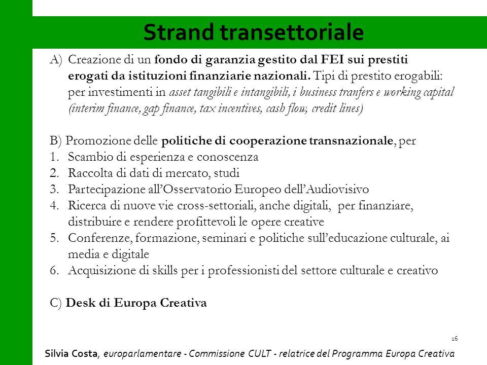 Strand transettoriale 16 A)Creazione di un fondo di garanzia gestito dal FEI sui prestiti erogati da istituzioni finanziarie nazionali.