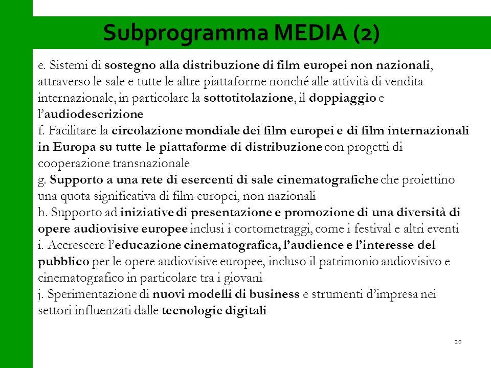 Subprogramma MEDIA (2) e.