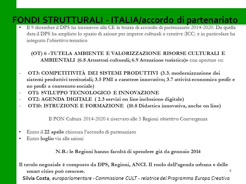 Il 9 dicembre il DPS ha trasmesso alla CE la bozza di accordo di partenariato 2014-2020.
