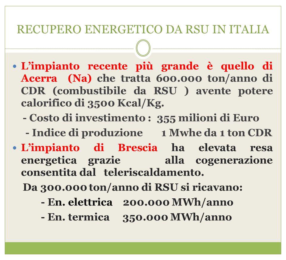 RECUPERO ENERGETICO DA RSU IN ITALIA L'impianto recente più grande è quello di Acerra (Na) che tratta 600.000 ton/anno di CDR (combustibile da RSU ) a