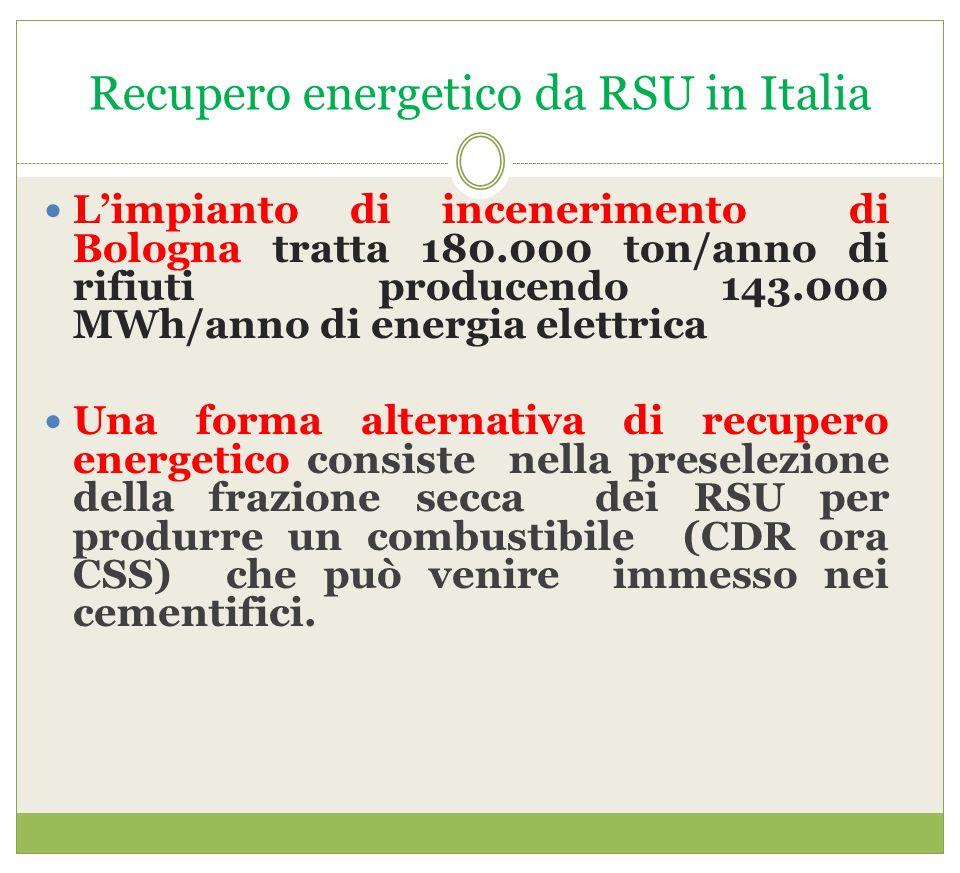 Recupero energetico da RSU in Italia L'impianto di incenerimento di Bologna tratta 180.000 ton/anno di rifiuti producendo 143.000 MWh/anno di energia