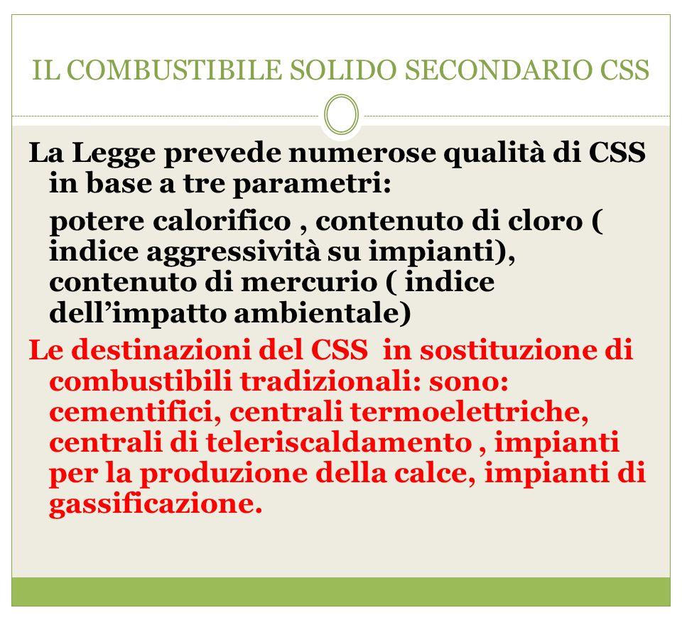 IL COMBUSTIBILE SOLIDO SECONDARIO CSS La Legge prevede numerose qualità di CSS in base a tre parametri: potere calorifico, contenuto di cloro ( indice