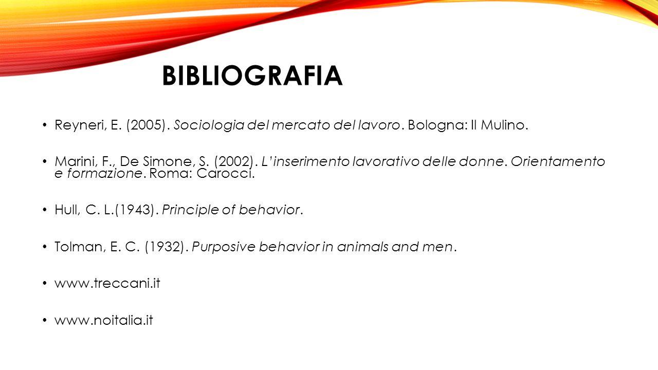 BIBLIOGRAFIA Reyneri, E. (2005). Sociologia del mercato del lavoro. Bologna: Il Mulino. Marini, F., De Simone, S. (2002). L'inserimento lavorativo del
