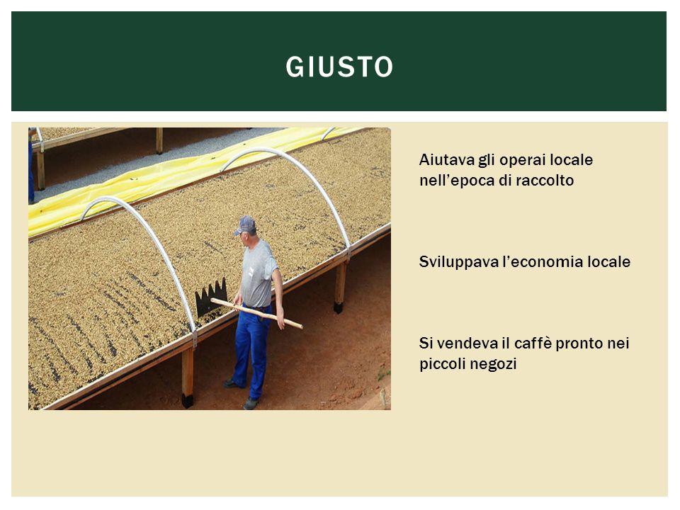 GIUSTO Aiutava gli operai locale nell'epoca di raccolto Sviluppava l'economia locale Si vendeva il caffè pronto nei piccoli negozi