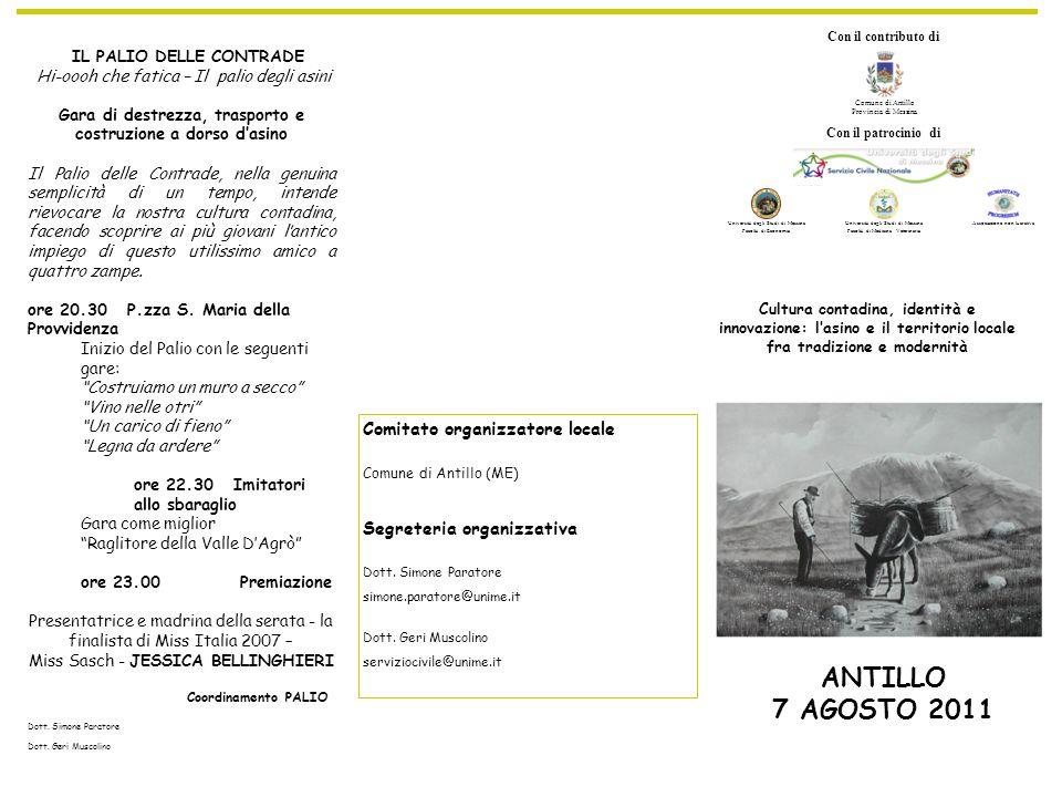 Comitato organizzatore locale Comune di Antillo (ME) Segreteria organizzativa Dott.
