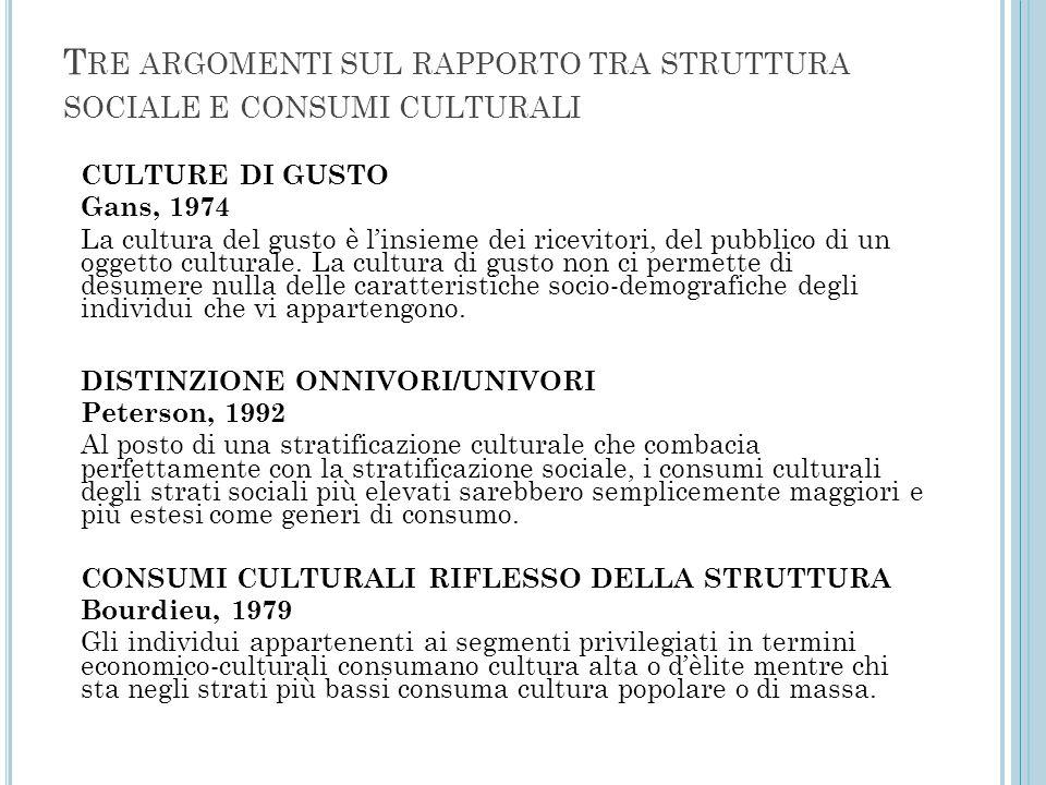 T RE ARGOMENTI SUL RAPPORTO TRA STRUTTURA SOCIALE E CONSUMI CULTURALI CULTURE DI GUSTO Gans, 1974 La cultura del gusto è l'insieme dei ricevitori, del pubblico di un oggetto culturale.