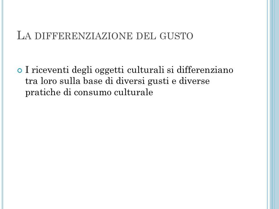 L A DIFFERENZIAZIONE DEL GUSTO I riceventi degli oggetti culturali si differenziano tra loro sulla base di diversi gusti e diverse pratiche di consumo culturale