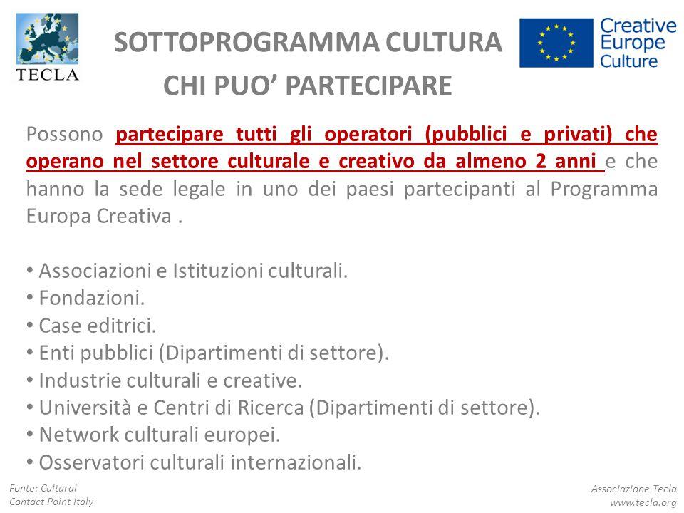 SOTTOPROGRAMMA CULTURA CHI PUO' PARTECIPARE Associazione Tecla www.tecla.org Fonte: Cultural Contact Point Italy Possono partecipare tutti gli operato