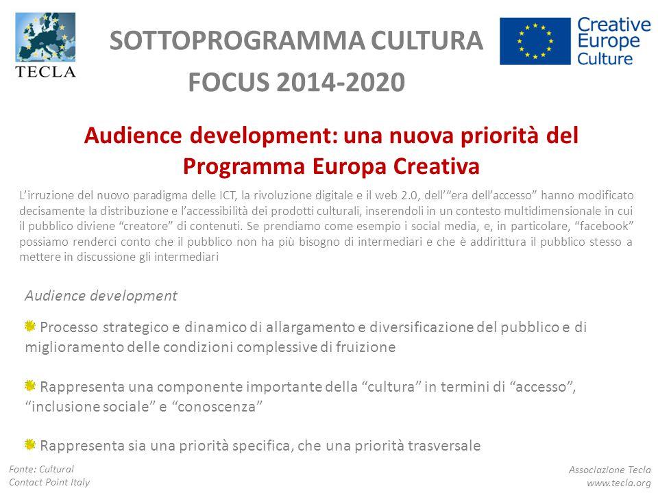 SOTTOPROGRAMMA CULTURA FOCUS 2014-2020 Audience development: una nuova priorità del Programma Europa Creativa Audience development Processo strategico