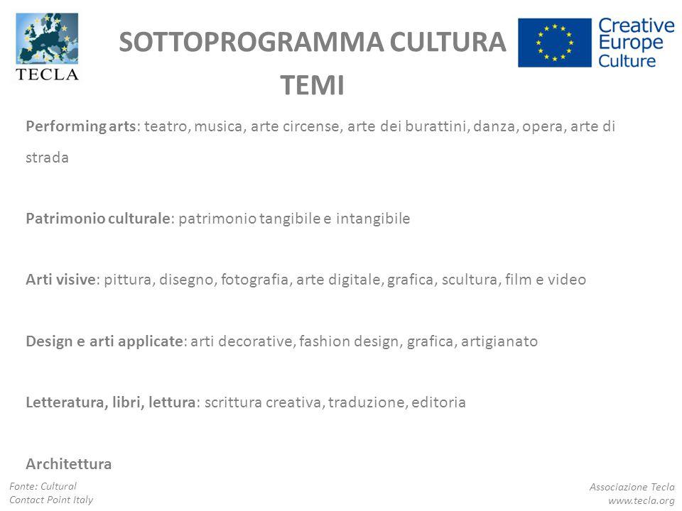 SOTTOPROGRAMMA CULTURA TEMI Associazione Tecla www.tecla.org Fonte: Cultural Contact Point Italy Performing arts: teatro, musica, arte circense, arte