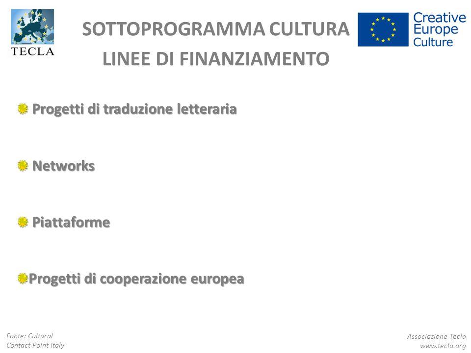 SOTTOPROGRAMMA CULTURA LINEE DI FINANZIAMENTO Progetti di traduzione letteraria Progetti di traduzione letteraria Networks Networks Piattaforme Piatta