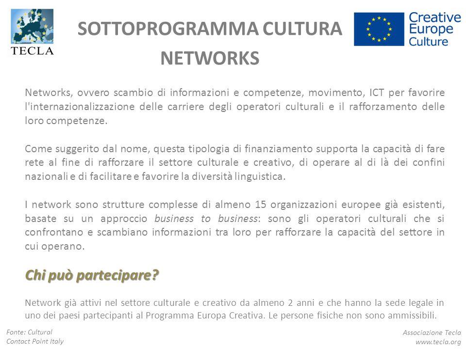 SOTTOPROGRAMMA CULTURA NETWORKS Associazione Tecla www.tecla.org Networks, ovvero scambio di informazioni e competenze, movimento, ICT per favorire l'