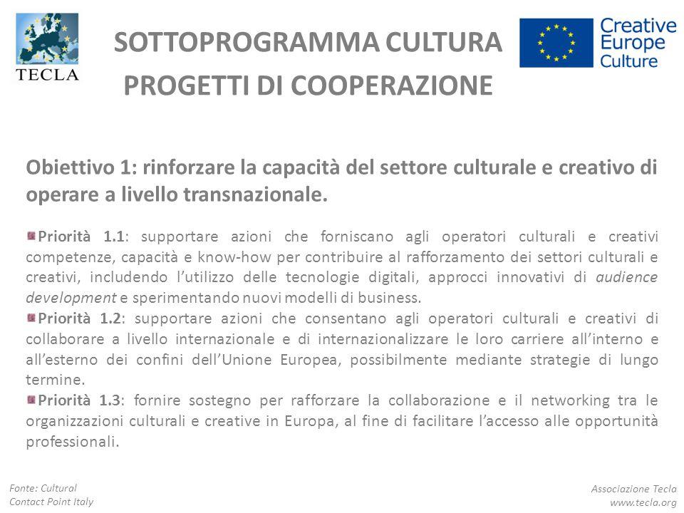 SOTTOPROGRAMMA CULTURA PROGETTI DI COOPERAZIONE Obiettivo 1: rinforzare la capacità del settore culturale e creativo di operare a livello transnaziona