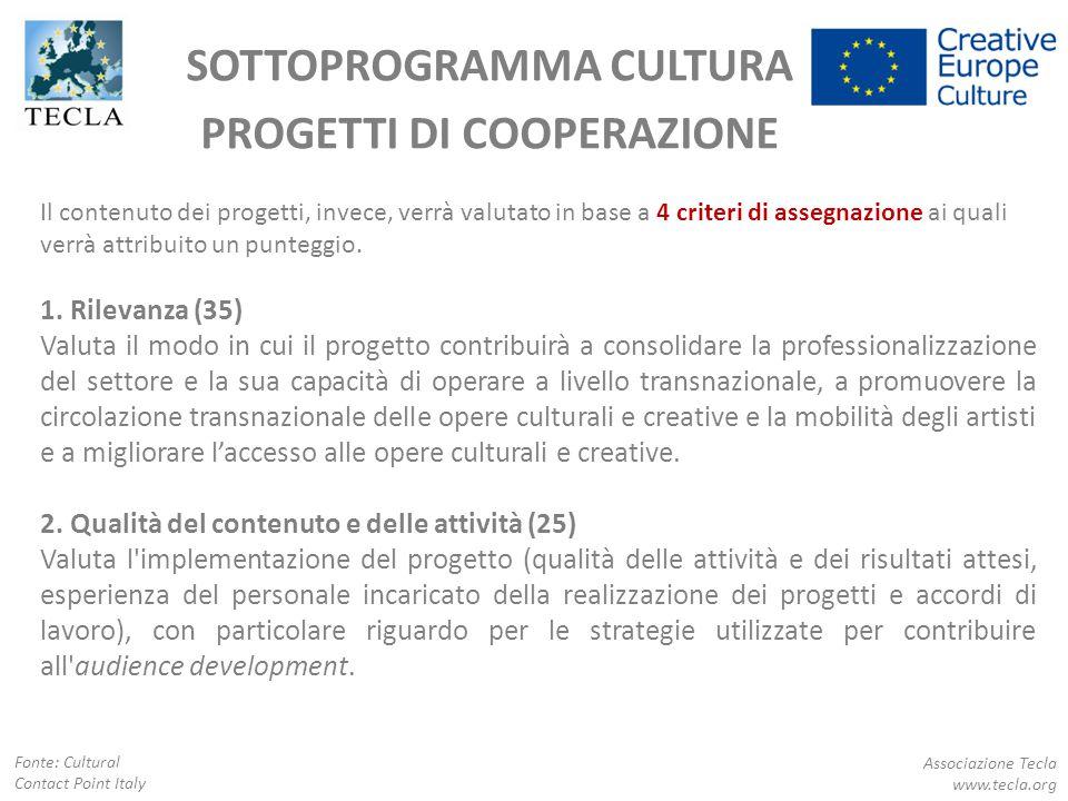 SOTTOPROGRAMMA CULTURA PROGETTI DI COOPERAZIONE Associazione Tecla www.tecla.org Fonte: Cultural Contact Point Italy Il contenuto dei progetti, invece