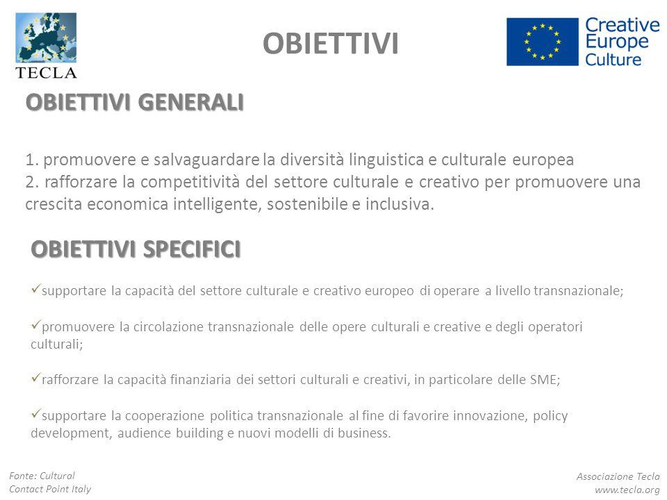 OBIETTIVI GENERALI 1. promuovere e salvaguardare la diversità linguistica e culturale europea 2. rafforzare la competitività del settore culturale e c