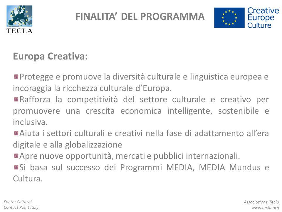 FINALITA' DEL PROGRAMMA Europa Creativa: Protegge e promuove la diversità culturale e linguistica europea e incoraggia la ricchezza culturale d'Europa