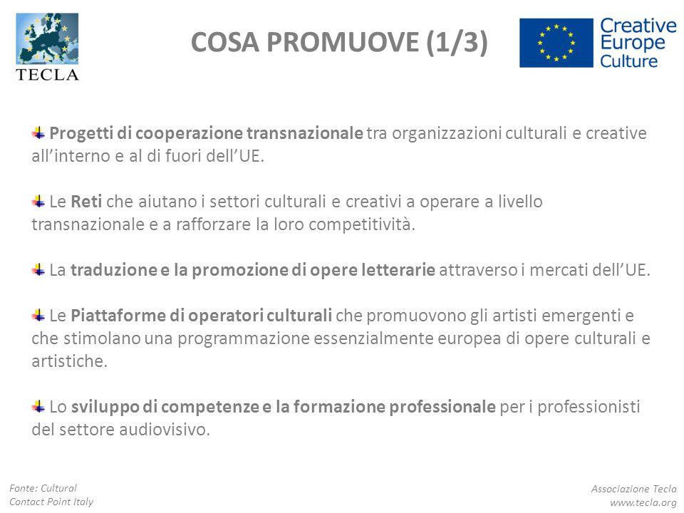 COSA PROMUOVE (1/3) Progetti di cooperazione transnazionale tra organizzazioni culturali e creative all'interno e al di fuori dell'UE. Le Reti che aiu