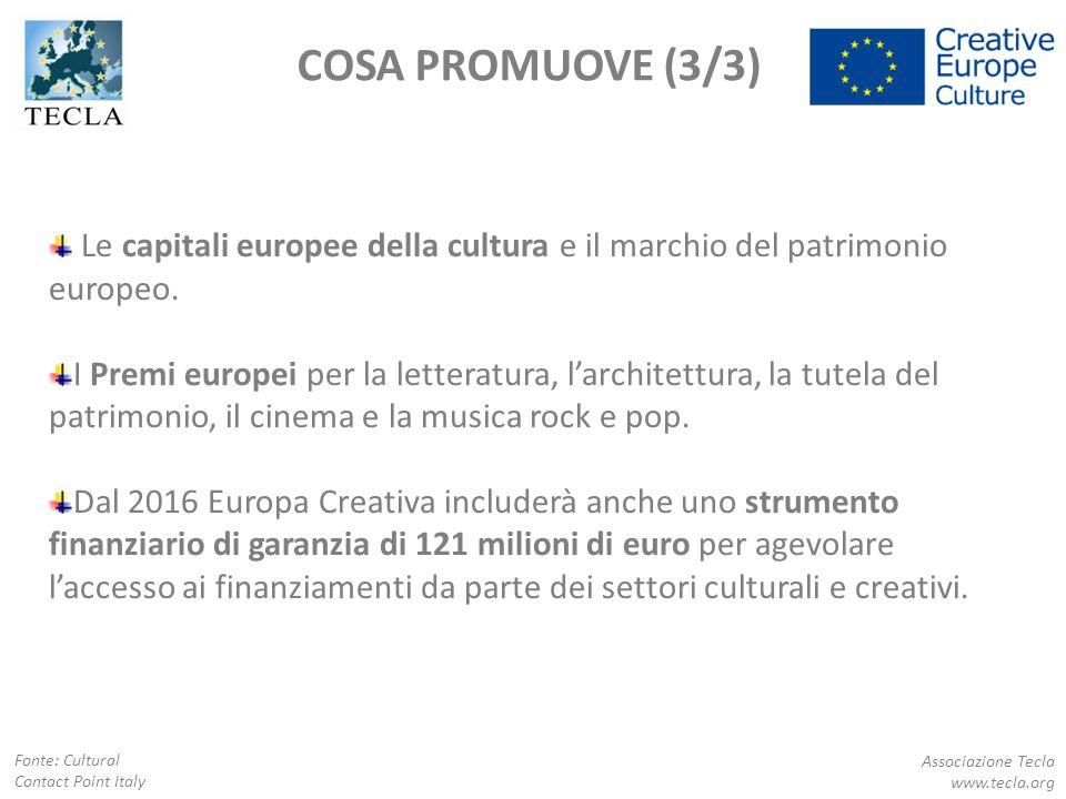 SOTTOPROGRAMMA CULTURA OVERVIEW Associazione Tecla www.tecla.org Fonte: Cultural Contact Point Italy Il Sottoprogramma Cultura di Europa Creativa è dedicato al settore culturale e creativo e rappresenta il 31% del budget di Europa Creativa.