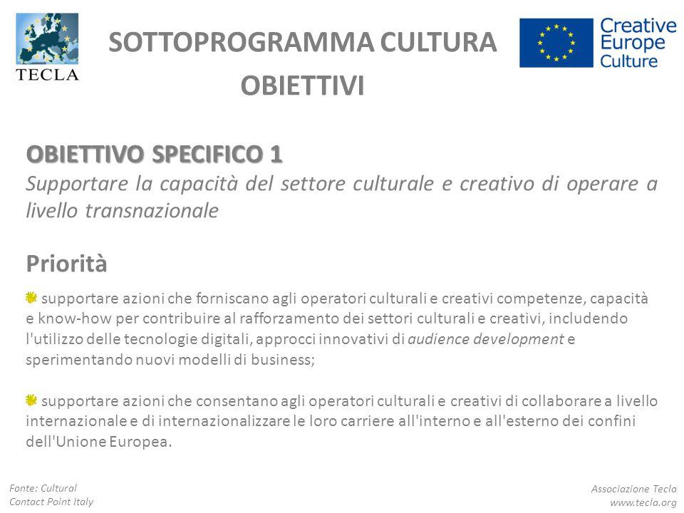 OBIETTIVO SPECIFICO 1 Supportare la capacità del settore culturale e creativo di operare a livello transnazionale Priorità supportare azioni che forni